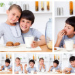 Collage of kids having a snack — Stock Photo #10599963