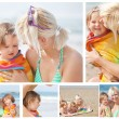 Collage of a mother with her chlidren on the beach — 图库照片