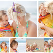 Collage einer Mutter mit ihre Kinder am Strand — Stockfoto