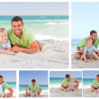 Colloge of a father and his son on the beach — Stock Photo #10599977