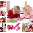 Collage of children coloring - Stock Photo