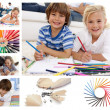 Collage of children drawing — Stockfoto