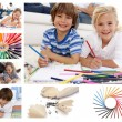 Collage of children drawing - Stock Photo