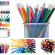 Stock Photo: Collage of crayons