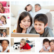 Stock Photo: Collage of layed down children