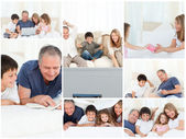 Collage of a family enjoying moments together at home — Fotografia Stock