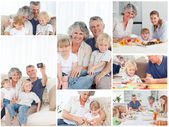Collage of a family enjoying different moments together at home — Stock Photo