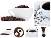 Coffee collage and ying yang symbol — Stock Photo