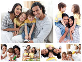 Collage of a family enjoying moments together at home — Stock Photo