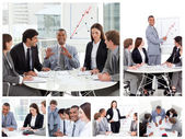 Collage of business in different situations — Stock Photo