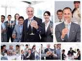 Collage aus geschäft feiert erfolg mit champagner — Stockfoto