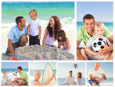 Collage of family members on a beach — Stock Photo