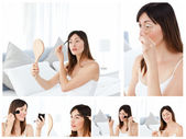 Colagem de uma mulher morena atraente colocando maquiagem — Foto Stock