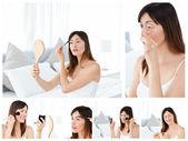 Collage van een aantrekkelijke brunette vrouw zetten make-up op — Stockfoto