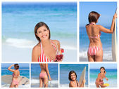 Collage of an attractive brunette woman enjoying the moment on a — Foto de Stock