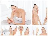 Colagem de uma linda mulher morena colocando maquiagem — Foto Stock