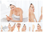 Collage van een prachtige brunette vrouw zetten make-up op — Stockfoto