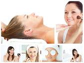 Collage van aantrekkelijke vrouwen make-up op te zetten — Stockfoto
