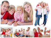 Collage of a family spending time together at home — Stock Photo