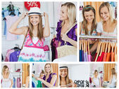 Collage of two smiling women doing shopping — Stock Photo