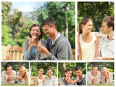 Collage of lovely couples eating ice creams in a park — Stock Photo