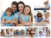 Collage of a family spending goods moments together at home — Stock Photo