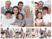 Collage of a whole family enjoying sharing moments together at h — Foto Stock