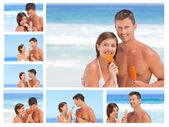 Collage of a lovely couple eating some ice creams on a beach — Stock Photo