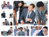 Collage of business at work — Stock fotografie