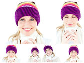 Collage of a young woman with winter hat drinking something hot — Stock Photo