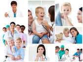 Collage of medical situations — Stock Photo
