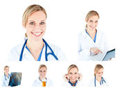 Collage of a female scientist using a stethoscope — Stock Photo