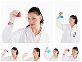 Collage of a female scientist looking at a red test tube and a b — Stock Photo