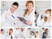 Collage of two female scientists doing experiments — Stock Photo