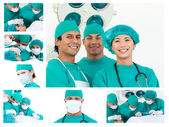 Collage of surgeons during a surgery — Stock Photo