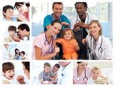 Collage of different medical situations — Stock Photo