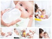 Collage of a mother spending a day with her child — Stock Photo