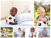 Collage of several boys with footballs — Stock Photo