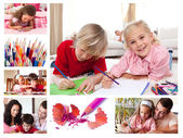 Collage of children coloring — Stockfoto