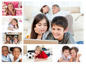 Collage of layed down children — Stock Photo