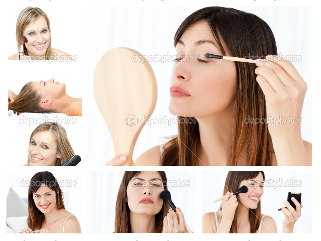 Collage of beautiful women putting make-up on at home — Stock Photo #10592227