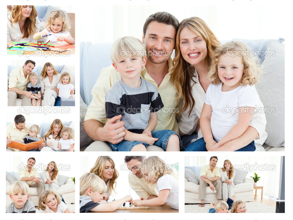 collage de una familia pasar mercanc as momentos juntos y planteando un foto de stock. Black Bedroom Furniture Sets. Home Design Ideas