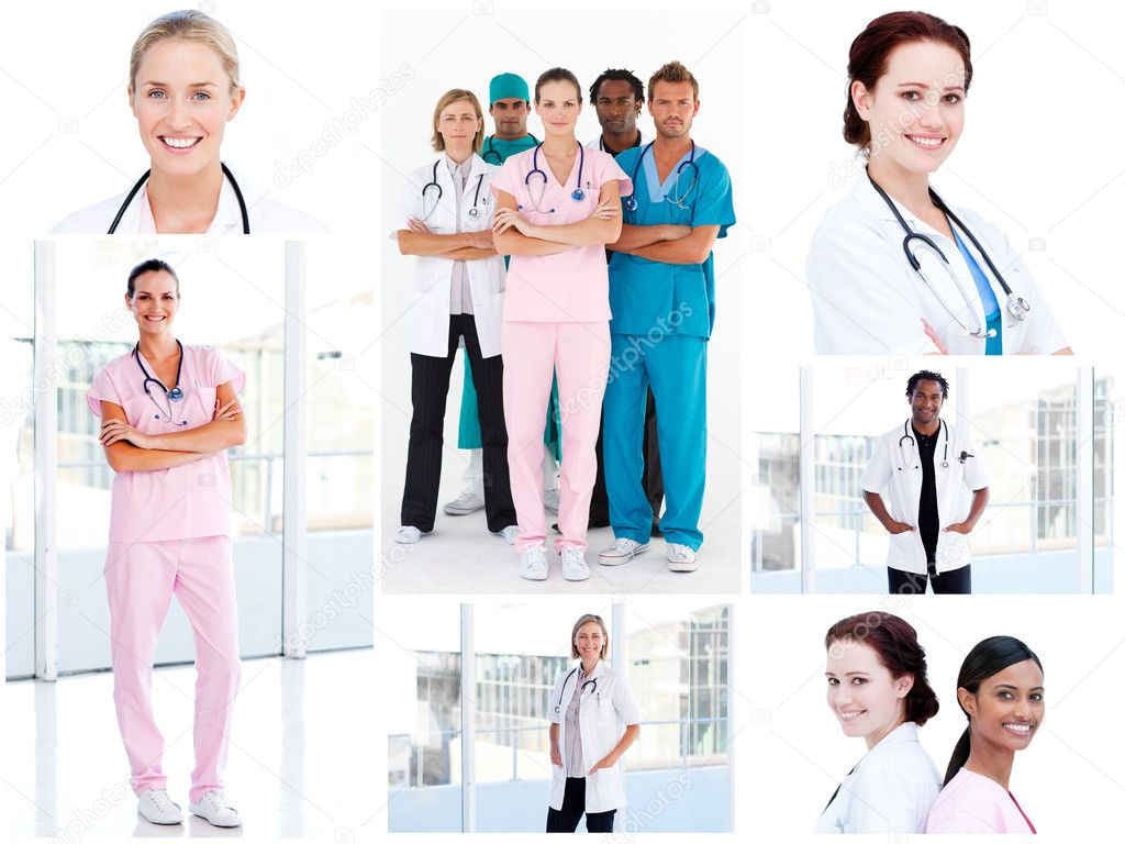 Collage of young doctors standing in a hospital — Stock Photo #10599913