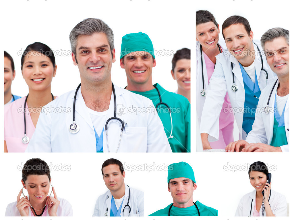 Collage of young doctors and surgeons standing against a white background — Stock Photo #10599917