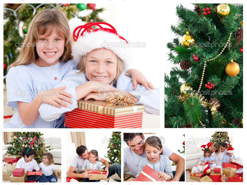 Collage of a family celebrating Christmas — Stock Photo #10599946