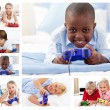 Stock Photo: Collage of children playing video games