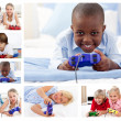 Collage of children playing video games — Stock Photo
