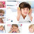 Collage of children listening to music — Stock Photo