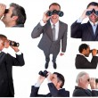 Collage of businessmen using binoculars — Stock Photo
