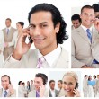 Stock Photo: Collage of business using telephones